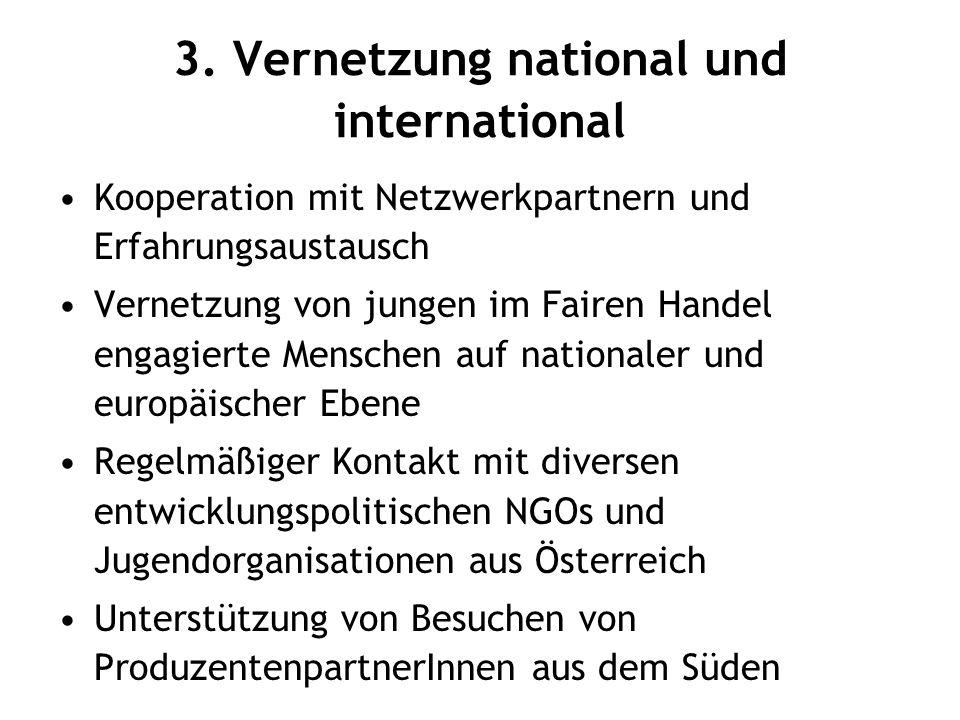 3. Vernetzung national und international Kooperation mit Netzwerkpartnern und Erfahrungsaustausch Vernetzung von jungen im Fairen Handel engagierte Me
