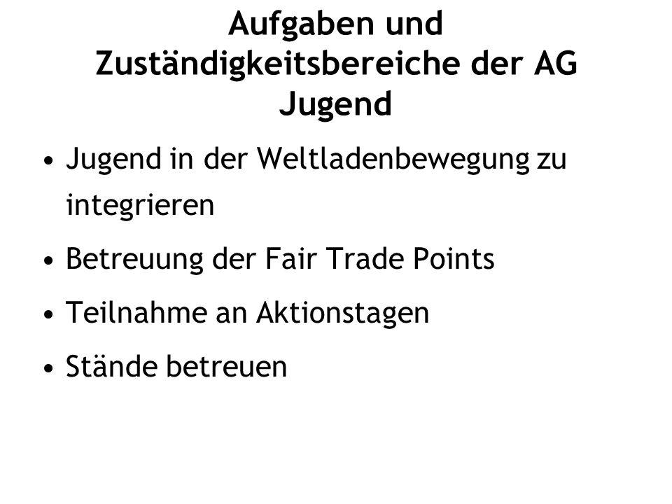 Aufgaben und Zuständigkeitsbereiche der AG Jugend Jugend in der Weltladenbewegung zu integrieren Betreuung der Fair Trade Points Teilnahme an Aktionstagen Stände betreuen