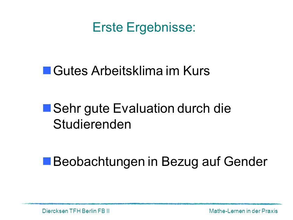 Diercksen TFH Berlin FB IIMathe-Lernen in der Praxis Erste Ergebnisse: Gutes Arbeitsklima im Kurs Sehr gute Evaluation durch die Studierenden Beobacht