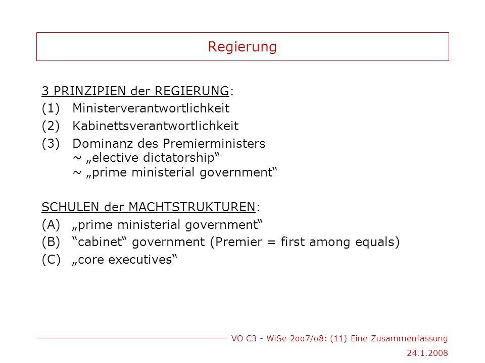 """VO C3 - WiSe 2oo7/o8: (11) Eine Zusammenfassung 24.1.2008 Regierung 3 PRINZIPIEN der REGIERUNG: (1)Ministerverantwortlichkeit (2)Kabinettsverantwortlichkeit (3)Dominanz des Premierministers ~ """"elective dictatorship ~ """"prime ministerial government SCHULEN der MACHTSTRUKTUREN: (A)""""prime ministerial government (B) cabinet government (Premier = first among equals) (C)""""core executives"""