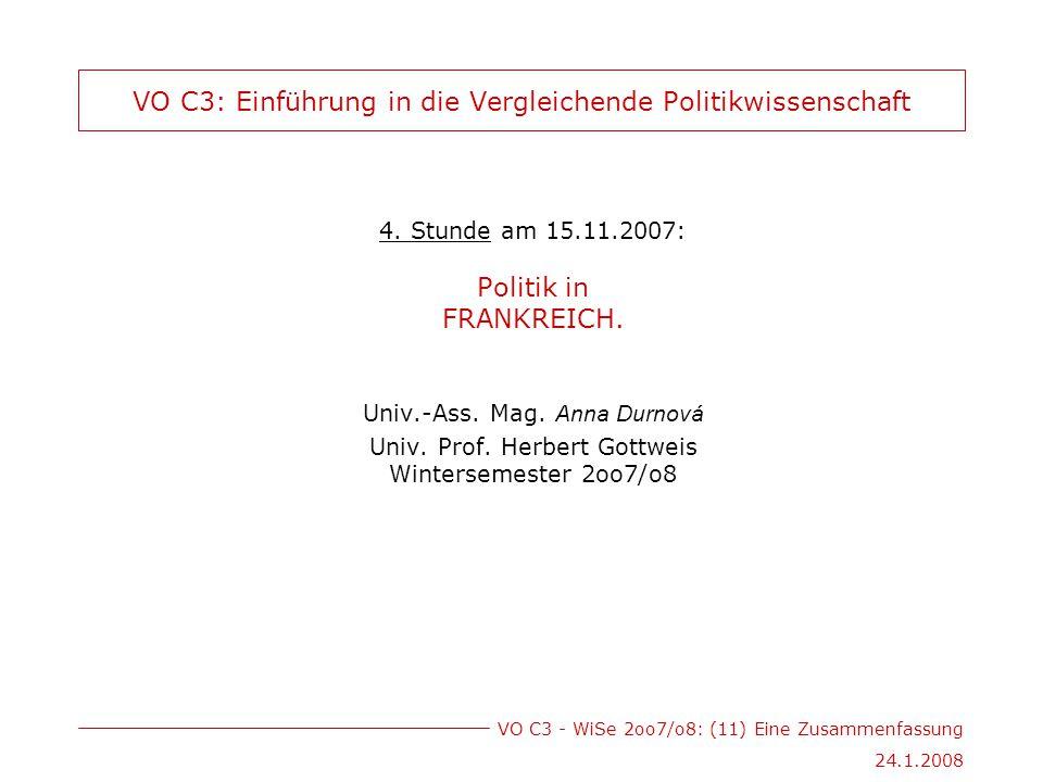 VO C3 - WiSe 2oo7/o8: (11) Eine Zusammenfassung 24.1.2008 VO C3: Einführung in die Vergleichende Politikwissenschaft 4.