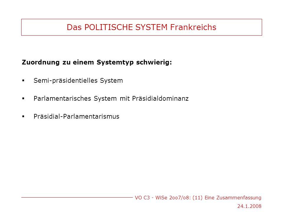 VO C3 - WiSe 2oo7/o8: (11) Eine Zusammenfassung 24.1.2008 Das POLITISCHE SYSTEM Frankreichs Zuordnung zu einem Systemtyp schwierig:  Semi-präsidentielles System  Parlamentarisches System mit Präsidialdominanz  Präsidial-Parlamentarismus