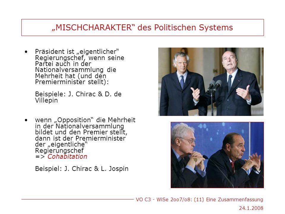 """VO C3 - WiSe 2oo7/o8: (11) Eine Zusammenfassung 24.1.2008 """"MISCHCHARAKTER des Politischen Systems Präsident ist """"eigentlicher Regierungschef, wenn seine Partei auch in der Nationalversammlung die Mehrheit hat (und den Premierminister stellt): Beispiele: J."""