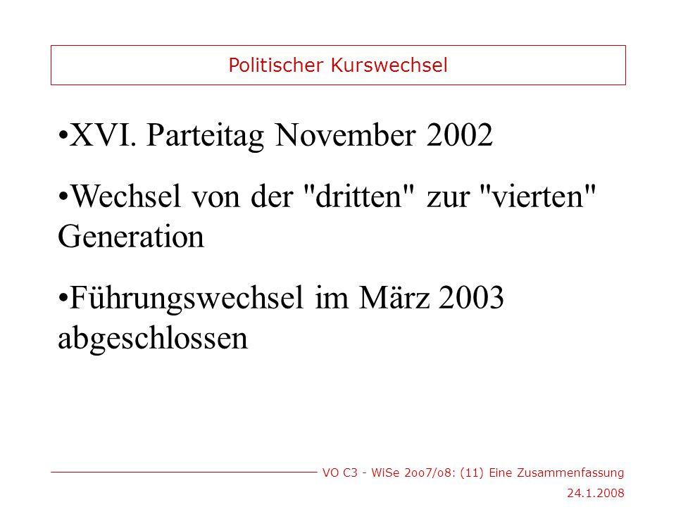 VO C3 - WiSe 2oo7/o8: (11) Eine Zusammenfassung 24.1.2008 XVI.