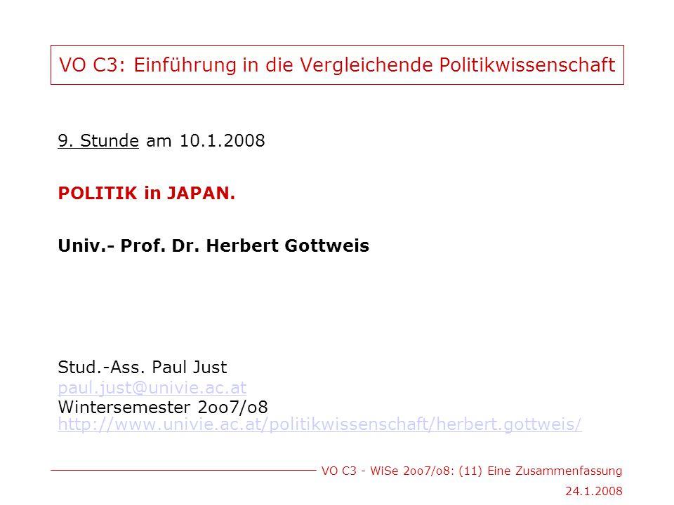 VO C3 - WiSe 2oo7/o8: (11) Eine Zusammenfassung 24.1.2008 VO C3: Einführung in die Vergleichende Politikwissenschaft 9.