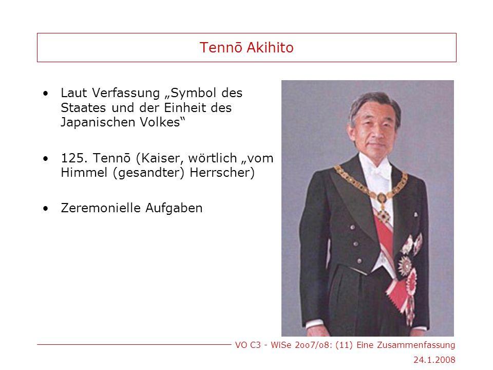 """VO C3 - WiSe 2oo7/o8: (11) Eine Zusammenfassung 24.1.2008 Tennō Akihito Laut Verfassung """"Symbol des Staates und der Einheit des Japanischen Volkes 125."""