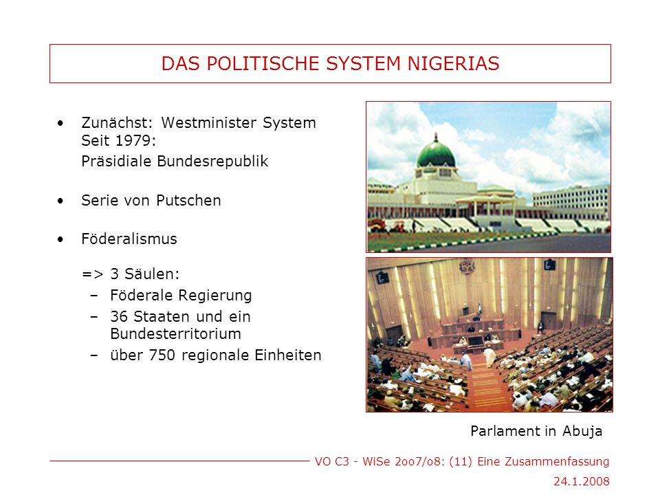VO C3 - WiSe 2oo7/o8: (11) Eine Zusammenfassung 24.1.2008 DAS POLITISCHE SYSTEM NIGERIAS Zunächst: Westminister System Seit 1979: Präsidiale Bundesrepublik Serie von Putschen Föderalismus => 3 Säulen: –Föderale Regierung –36 Staaten und ein Bundesterritorium –über 750 regionale Einheiten Parlament in Abuja