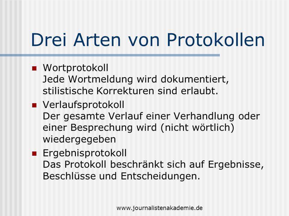 www.journalistenakademie.de Drei Arten von Protokollen Wortprotokoll Jede Wortmeldung wird dokumentiert, stilistische Korrekturen sind erlaubt. Verlau
