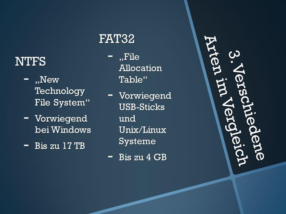"""3. Verschiedene Arten im Vergleich NTFS - """"New Technology File System"""" - Vorwiegend bei Windows - Bis zu 17 TB FAT32 - """"File Allocation Table"""" - Vorwi"""