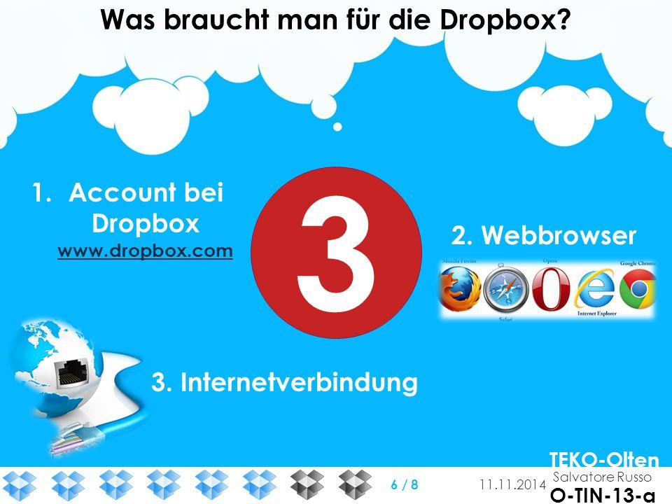 Was braucht man für die Dropbox? 1.Account bei Dropbox www.dropbox.com www.dropbox.com 2. Webbrowser 3. Internetverbindung 3 Salvatore Russo TEKO-Olte