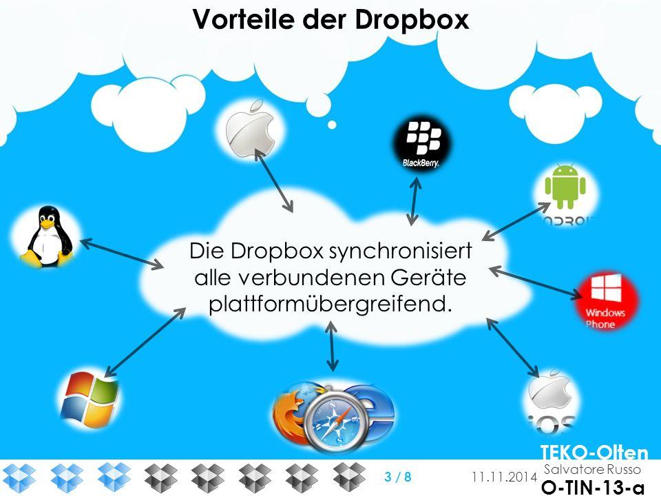Die Dropbox synchronisiert alle verbundenen Geräte plattformübergreifend. Vorteile der Dropbox Salvatore Russo TEKO-Olten O-TIN-13-a 11.11.2014 3