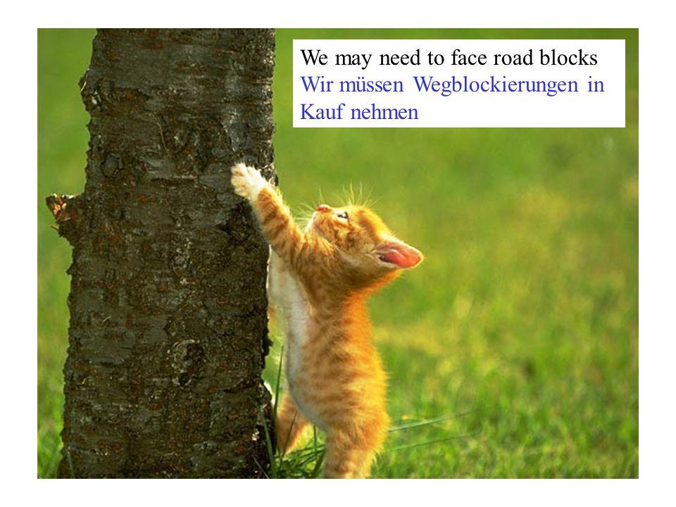 We may need to face road blocks Wir müssen Wegblockierungen in Kauf nehmen