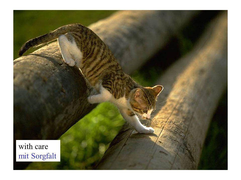 with care mit Sorgfalt
