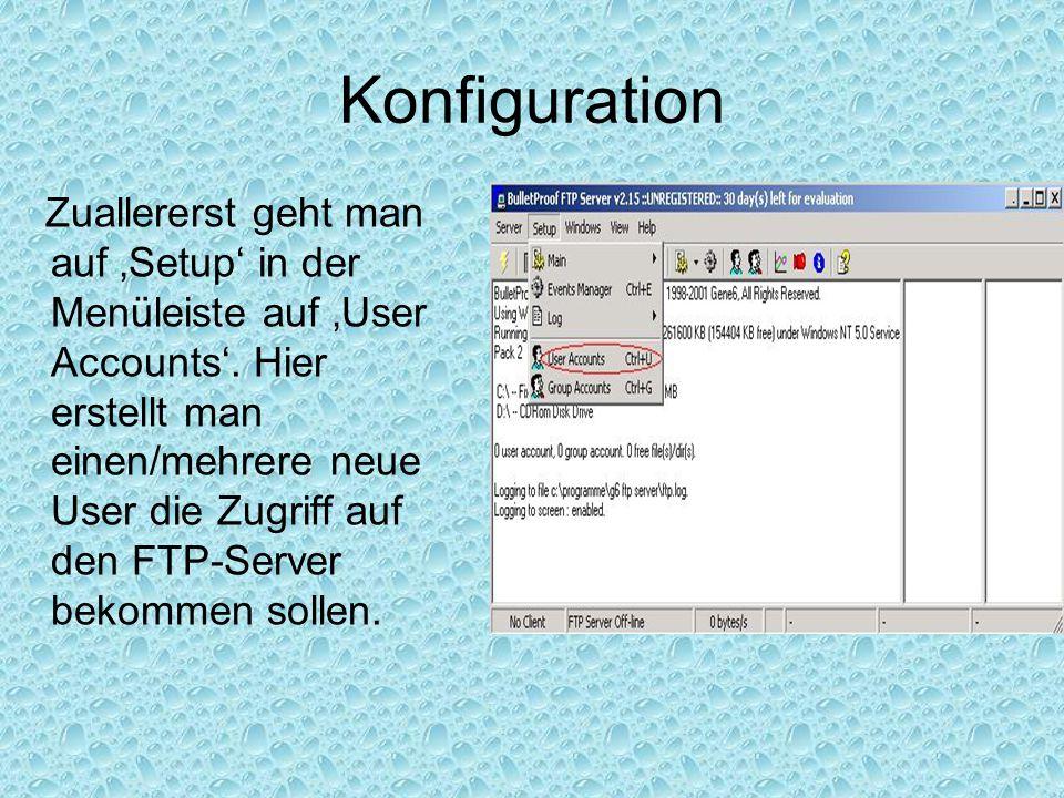 Konfiguration Zuallererst geht man auf 'Setup' in der Menüleiste auf 'User Accounts'. Hier erstellt man einen/mehrere neue User die Zugriff auf den FT