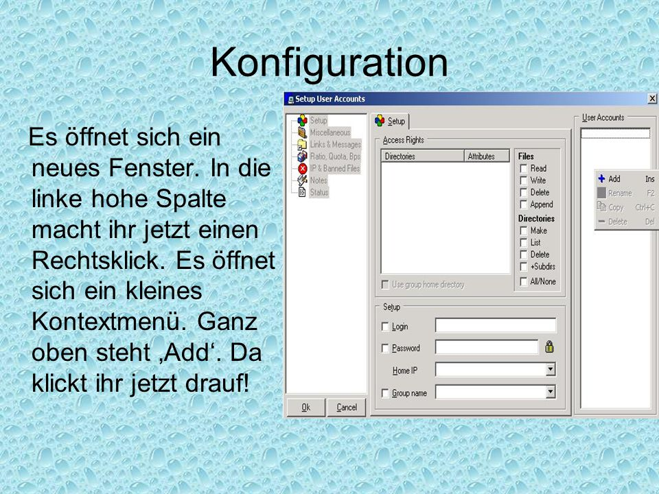 Konfiguration Ein neues Pop-Up Fenster erscheint in dem ihr aufgefordert werdet einen neuen Account Namen einzugeben.
