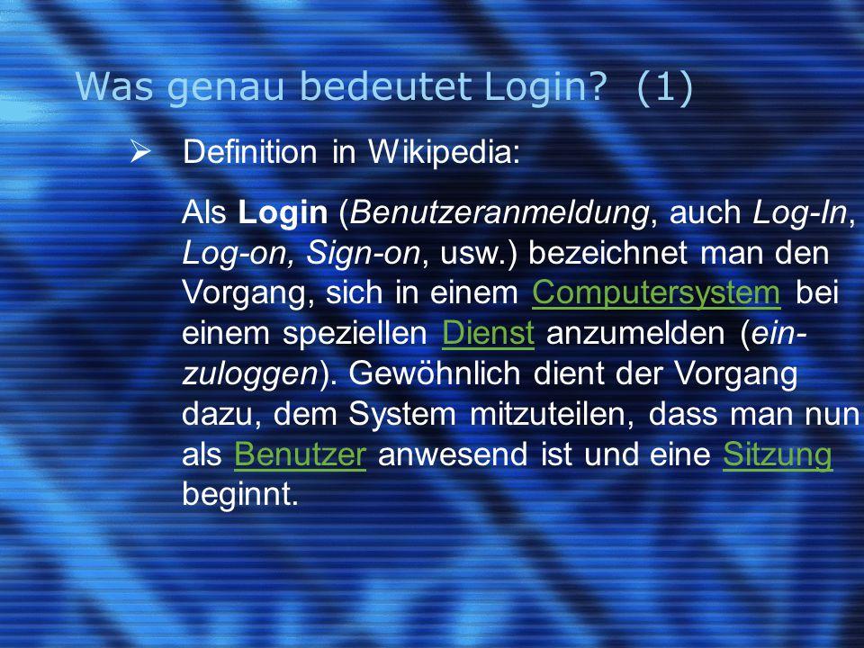 Was genau bedeutet Login.