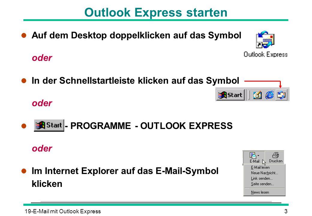 19-E-Mail mit Outlook Express4 Anwendungsfenster von Outlook Express Nachrichtenfenster Menüleiste Ordnerliste Symbolleiste Schließen der Fenster durch Anklicken des jeweiligen Schließfeldes