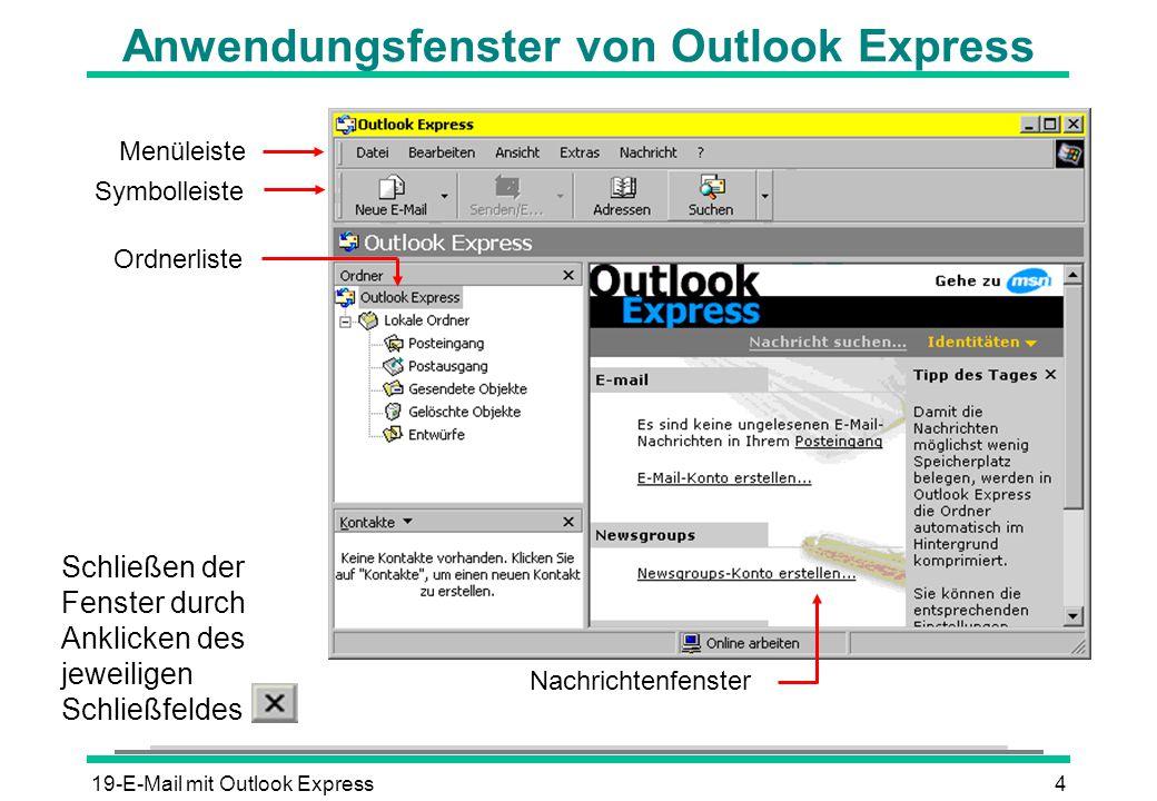 19-E-Mail mit Outlook Express4 Anwendungsfenster von Outlook Express Nachrichtenfenster Menüleiste Ordnerliste Symbolleiste Schließen der Fenster durc