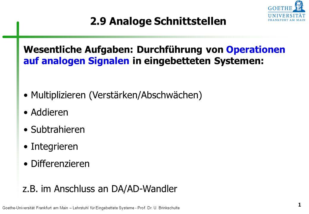 Goethe-Universität Frankfurt am Main – Lehrstuhl für Eingebettete Systeme - Prof. Dr. U. Brinkschulte 1 2.9 Analoge Schnittstellen Wesentliche Aufgabe