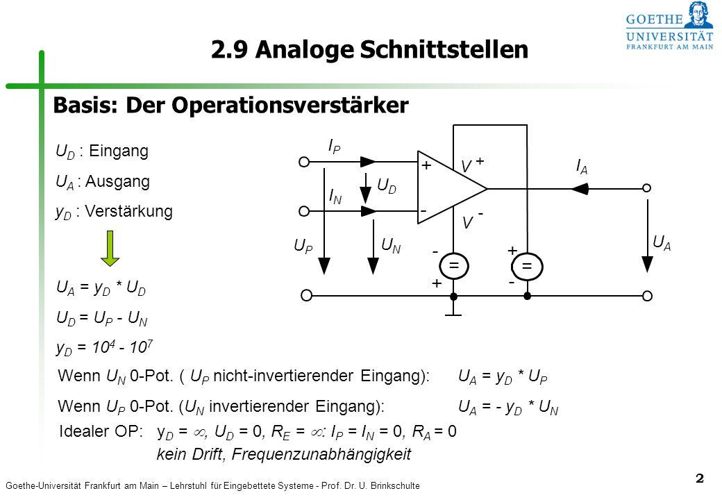Goethe-Universität Frankfurt am Main – Lehrstuhl für Eingebettete Systeme - Prof. Dr. U. Brinkschulte 2 2.9 Analoge Schnittstellen UAUA UDUD + - UPUP