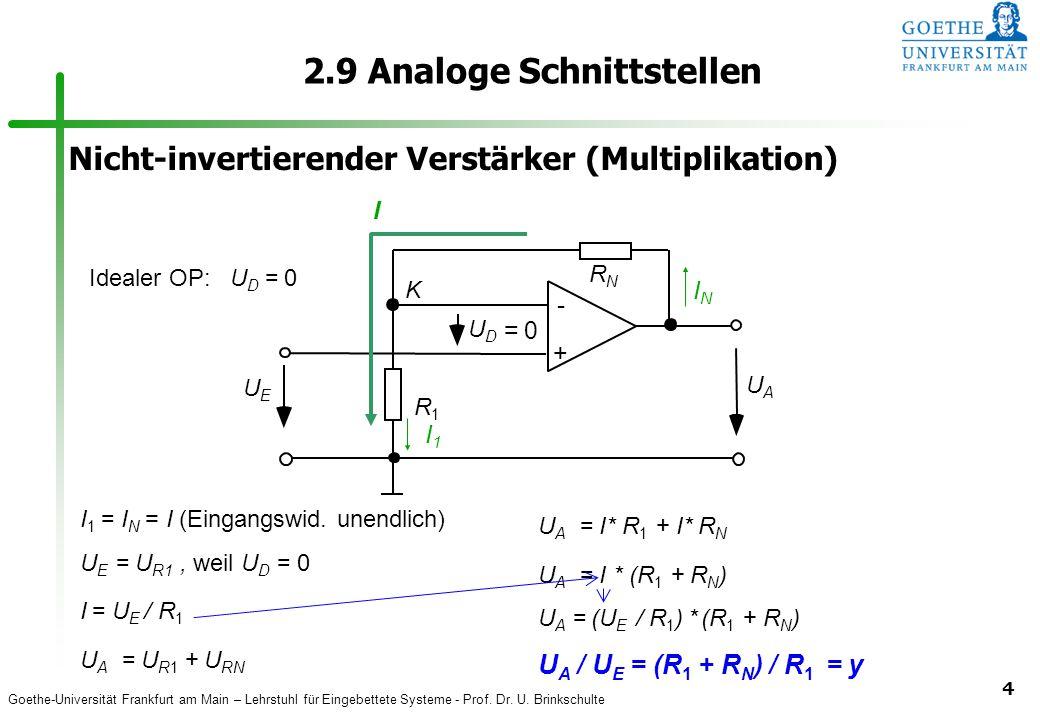 Goethe-Universität Frankfurt am Main – Lehrstuhl für Eingebettete Systeme - Prof. Dr. U. Brinkschulte 4 2.9 Analoge Schnittstellen I 1 = I N = I (Eing