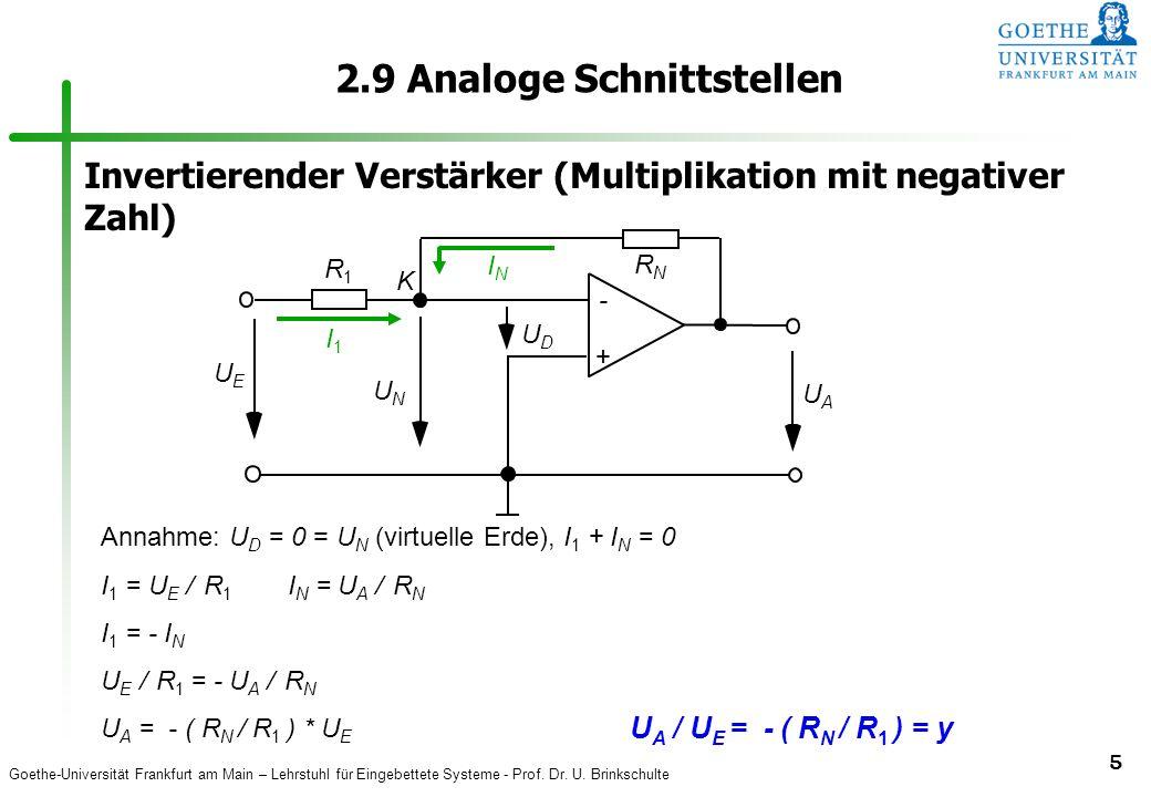 Goethe-Universität Frankfurt am Main – Lehrstuhl für Eingebettete Systeme - Prof. Dr. U. Brinkschulte 5 2.9 Analoge Schnittstellen Annahme: U D = 0 =