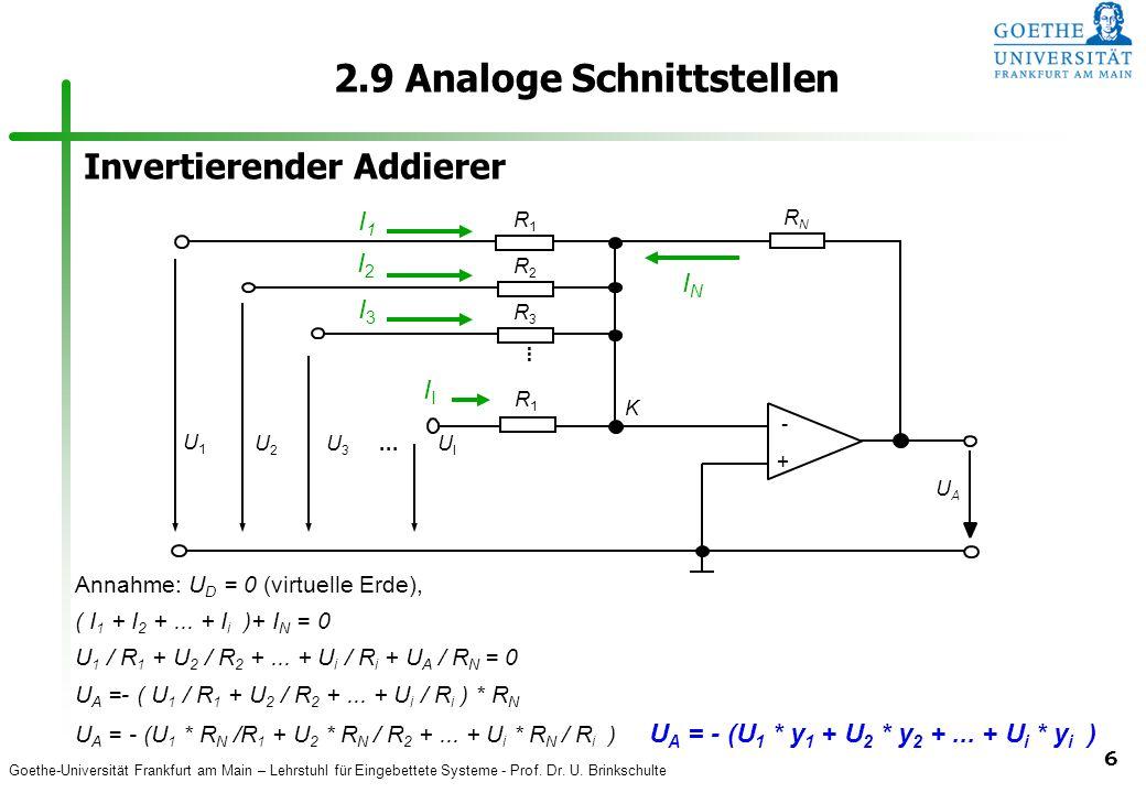 Goethe-Universität Frankfurt am Main – Lehrstuhl für Eingebettete Systeme - Prof. Dr. U. Brinkschulte 6 2.9 Analoge Schnittstellen Annahme: U D = 0 (v