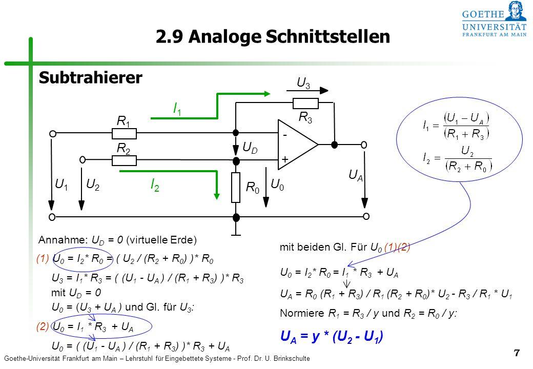 Goethe-Universität Frankfurt am Main – Lehrstuhl für Eingebettete Systeme - Prof. Dr. U. Brinkschulte 7 2.9 Analoge Schnittstellen Annahme: U D = 0 (v