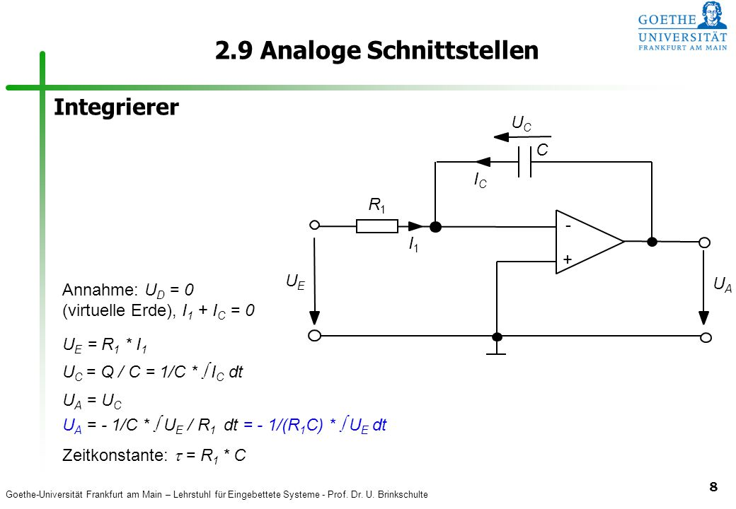 Goethe-Universität Frankfurt am Main – Lehrstuhl für Eingebettete Systeme - Prof. Dr. U. Brinkschulte 8 2.9 Analoge Schnittstellen Annahme: U D = 0 (v