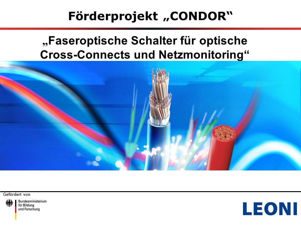 """Gefördert von Förderprojekt """"CONDOR """" Faseroptische Schalter für optische Cross-Connects und Netzmonitoring"""