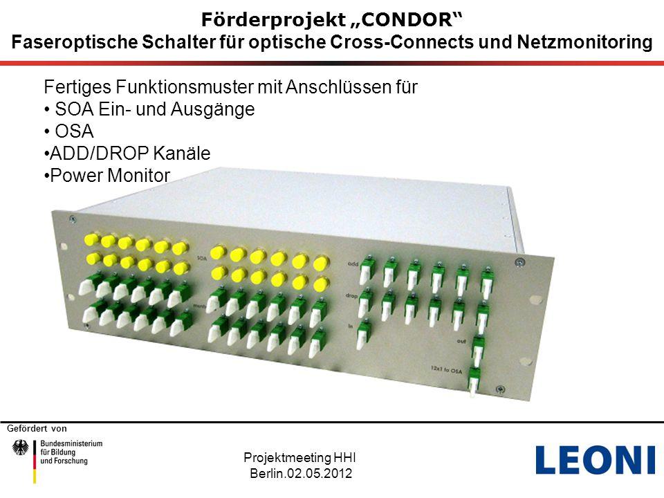 """Gefördert von Förderprojekt """"CONDOR Faseroptische Schalter für optische Cross-Connects und Netzmonitoring Projektmeeting HHI Berlin.02.05.2012 Nächste Schritte."""