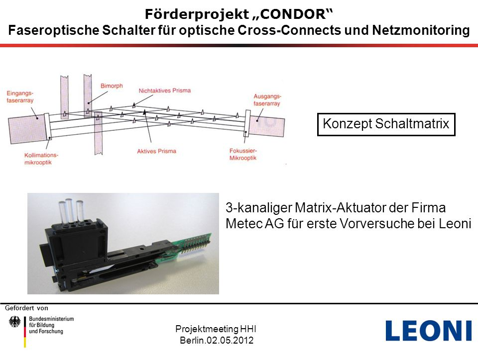 """Gefördert von Förderprojekt """"CONDOR Faseroptische Schalter für optische Cross-Connects und Netzmonitoring Projektmeeting HHI Berlin.02.05.2012 Zeitplanung Metec AG"""