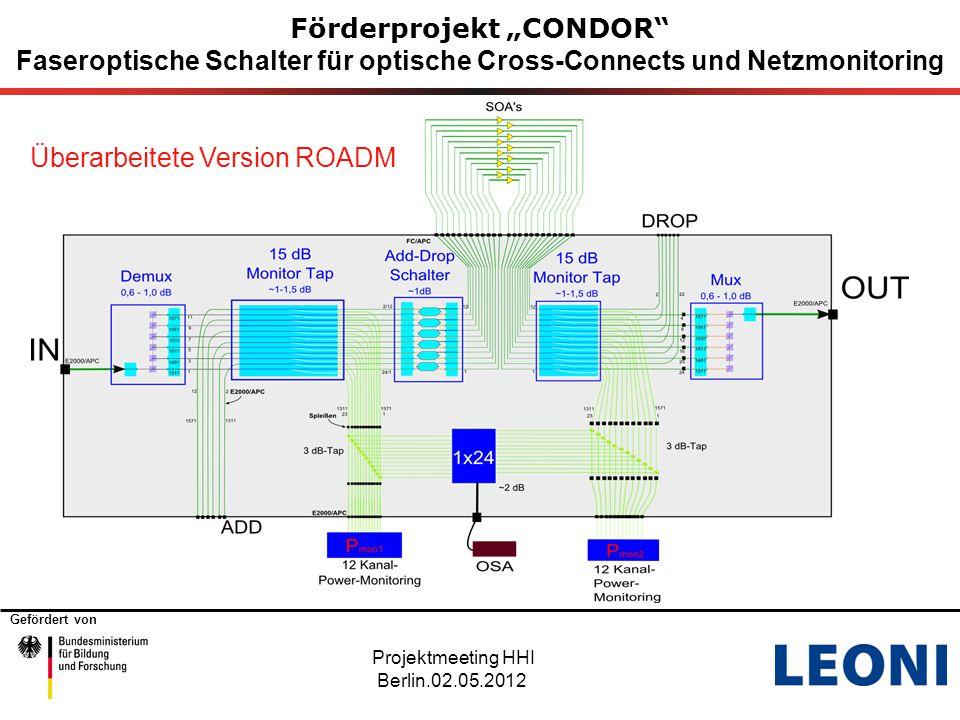 """Gefördert von 4 Förderprojekt """"CONDOR Faseroptische Schalter für optische Cross-Connects und Netzmonitoring Projektmeeting HHI Berlin.02.05.2012 Überarbeitete Version ROADM"""