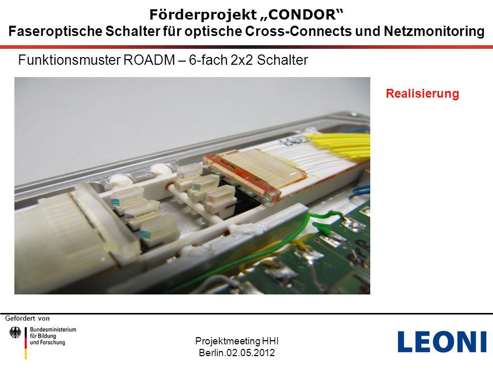 """Gefördert von Förderprojekt """"CONDOR Faseroptische Schalter für optische Cross-Connects und Netzmonitoring Projektmeeting HHI Berlin.02.05.2012 Funktionsmuster ROADM – Monitortaps"""