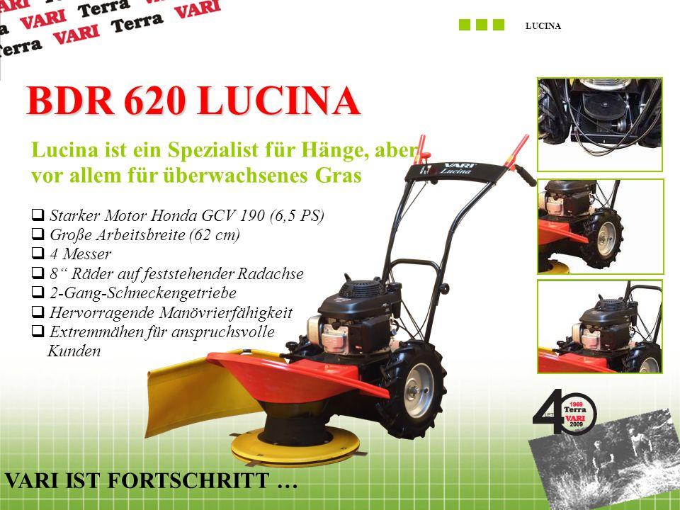 """LUCINA VARI IST FORTSCHRITT … BDR 620 LUCINA  Starker Motor Honda GCV 190 (6,5 PS)  Große Arbeitsbreite (62 cm)  4 Messer  8"""" Räder auf feststeh"""