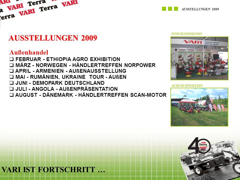AUSSTELLUNGEN 2009 VARI IST FORTSCHRITT … AUSSTELLUNGEN 2009 Außenhandel  FEBRUAR - ETHIOPIA AGRO EXHIBITION  MÄRZ - NORWEGEN - HÄNDLERTREFFEN NORPO