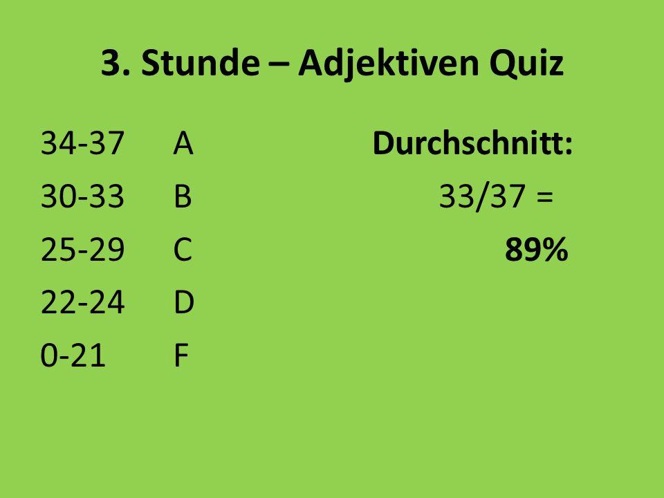 3. Stunde – Adjektiven Quiz 34-37 ADurchschnitt: 30-33B33/37 = 25-29C89% 22-24D 0-21F