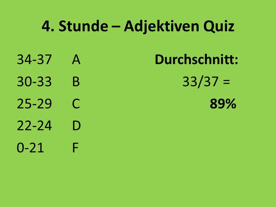 4. Stunde – Adjektiven Quiz 34-37 ADurchschnitt: 30-33B33/37 = 25-29C89% 22-24D 0-21F