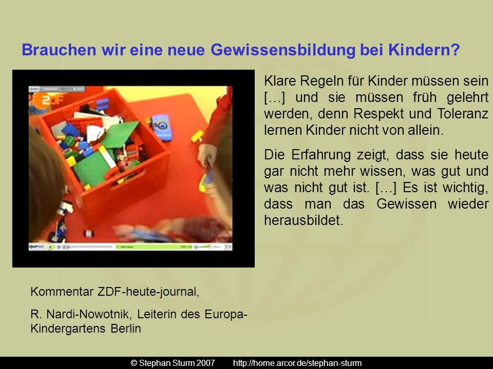 Kommentar ZDF-heute-journal, R. Nardi-Nowotnik, Leiterin des Europa- Kindergartens Berlin Klare Regeln für Kinder müssen sein […] und sie müssen früh