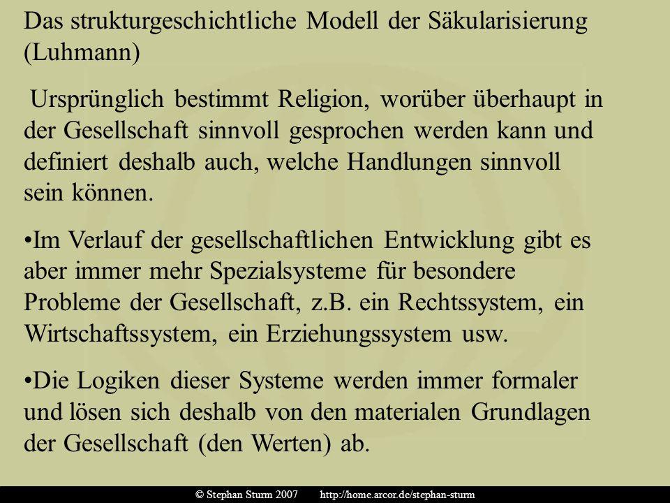 Das strukturgeschichtliche Modell der Säkularisierung (Luhmann) Ursprünglich bestimmt Religion, worüber überhaupt in der Gesellschaft sinnvoll gesproc