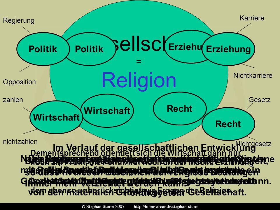 Gesellschaft = Religion Nach Luhmann ist Gesellschaft ursprünglich identisch mit Religion, d.h. Religion bestimmt, was in der Gesellschaft überhaupt g