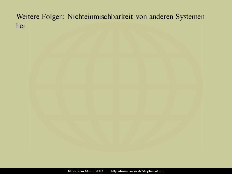 Weitere Folgen: Nichteinmischbarkeit von anderen Systemen her © Stephan Sturm 2007 http://home.arcor.de/stephan-sturm