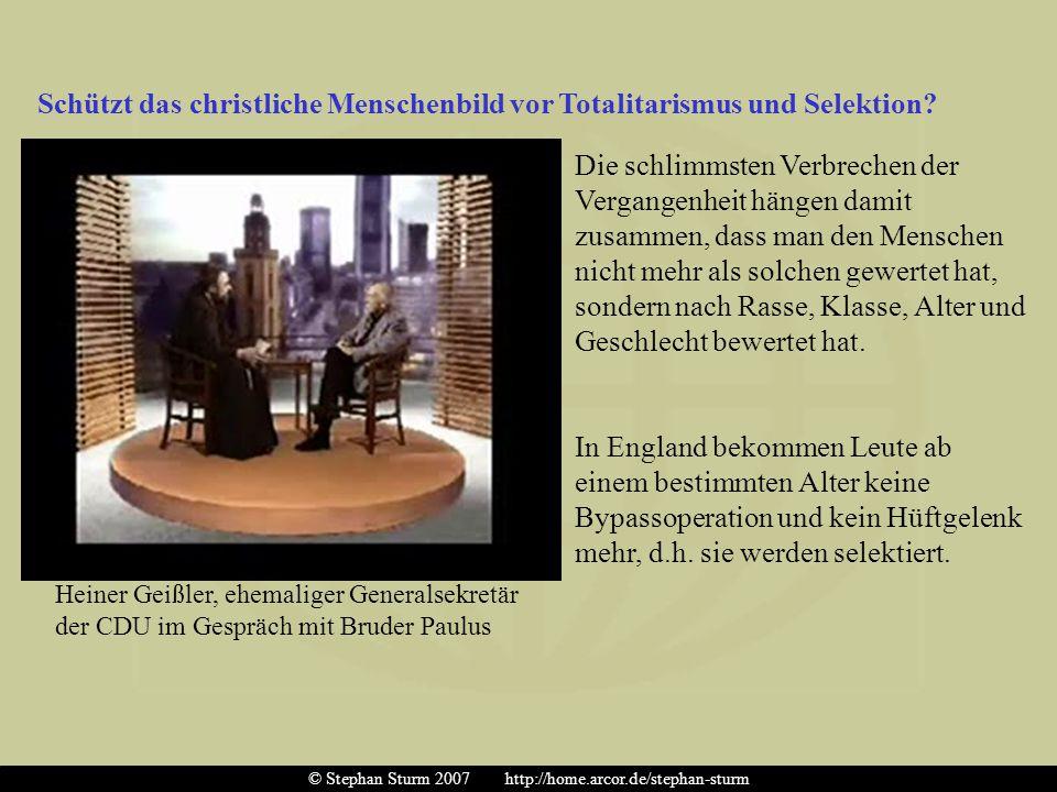 Schützt das christliche Menschenbild vor Totalitarismus und Selektion? Heiner Geißler, ehemaliger Generalsekretär der CDU im Gespräch mit Bruder Paulu