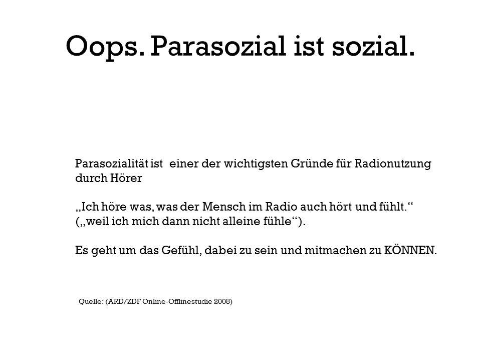 """Oops. Parasozial ist sozial. Parasozialität ist einer der wichtigsten Gründe für Radionutzung durch Hörer """"Ich höre was, was der Mensch im Radio auch"""