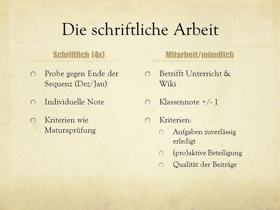 Die schriftliche Arbeit Schriftlich (4x) Probe gegen Ende der Sequenz (Dez/Jan) Individuelle Note Kriterien wie Maturaprüfung Mitarbeit/mündlich Betri