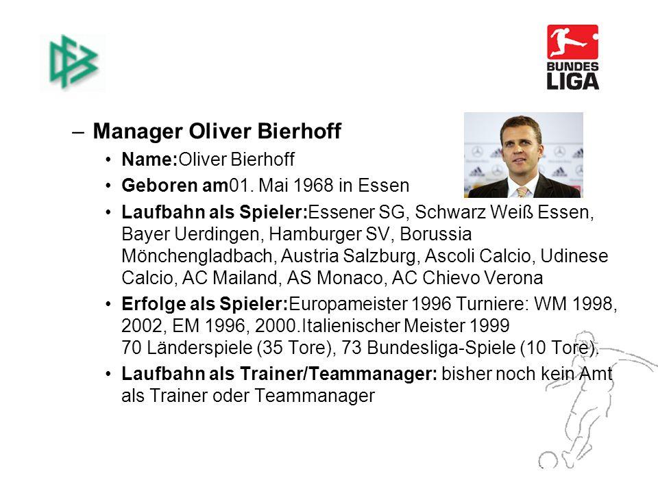 –Manager Oliver Bierhoff Name:Oliver Bierhoff Geboren am01.