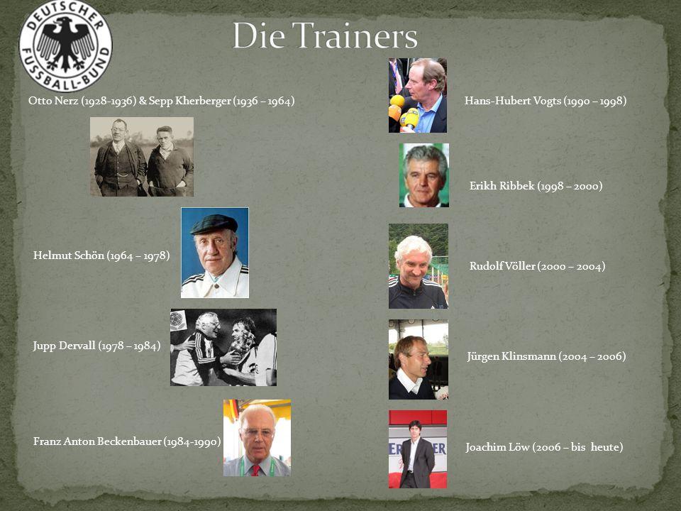 Otto Nerz (1928-1936) & Sepp Kherberger (1936 – 1964) Helmut Schön (1964 – 1978) Franz Anton Beckenbauer (1984-1990) Jupp Dervall (1978 – 1984) Joachi