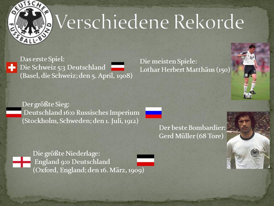 Das erste Spiel: Die Schweiz 5:3 Deutschland (Basel, die Schweiz; den 5. April, 1908) Der größte Sieg: Deutschland 16:0 Russisches Imperium (Stockholm