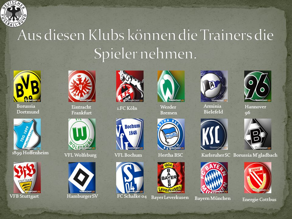 Energie Cottbus VFL Wolfsburg Bayern München Borussia M'gladbach VFB StuttgartHamburger SVFC Schalke 04 Bayer Leverkusen 1.FC Köln Borussia Dortmund A