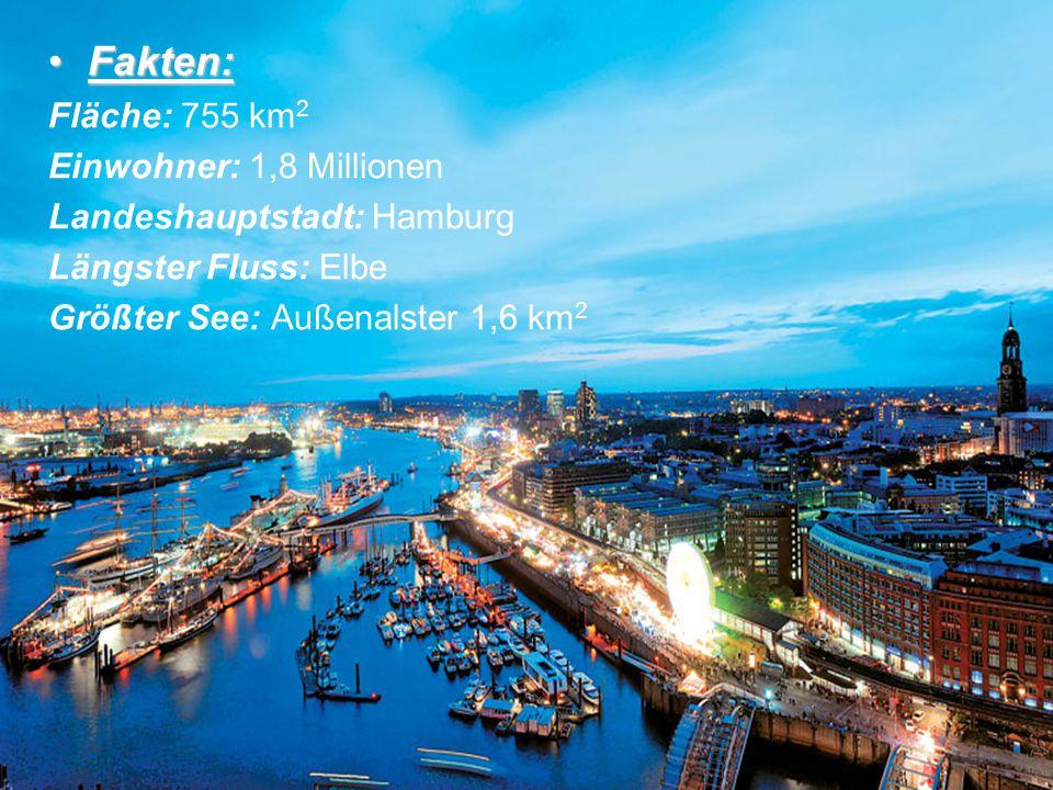 Fakten:Fakten: Fläche: 755 km 2 Einwohner: 1,8 Millionen Landeshauptstadt: Hamburg Längster Fluss: Elbe Größter See: Außenalster 1,6 km 2